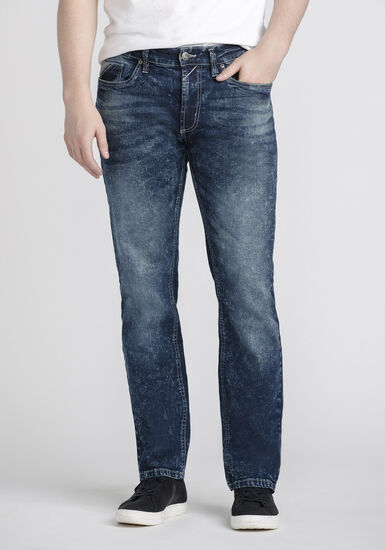 Men's Classic Straight Marble Wash Jeans, DARK WASH, hi-res
