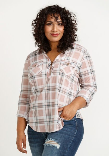 Women's Half Zip Knit Plaid Shirt