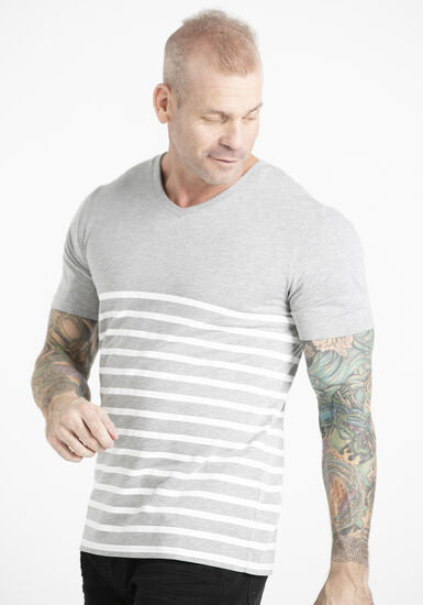Men's Stripe V-Neck Tee, LIGHT GREY, hi-res