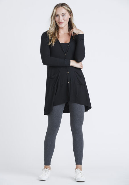 Women's Ribbed Cardigan, BLACK, hi-res