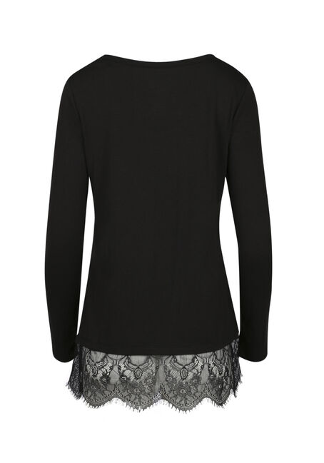 Ladies' Lace Hem Tunic Tee, BLACK, hi-res