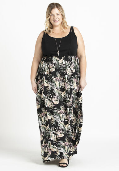 Women's Knit Top Maxi Dress, BLACK, hi-res