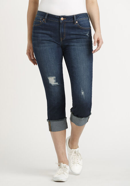 Women's Destroyed Cuffed Capri