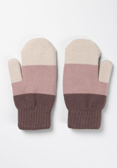 Women's Colour Block Mitten, GREY/PINK, hi-res