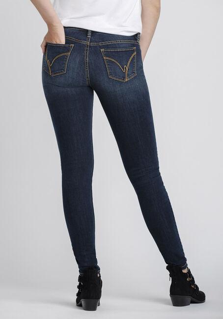 Women's Dark Distressed Skinny Jeans, DENIM, hi-res