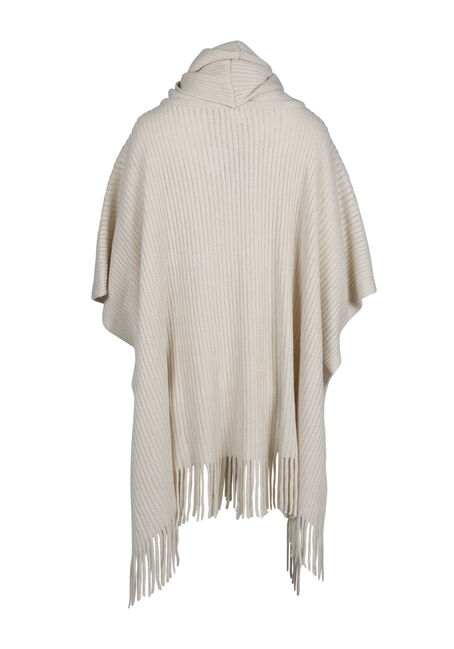 Ladies' Fringe Trim Poncho, TAN, hi-res
