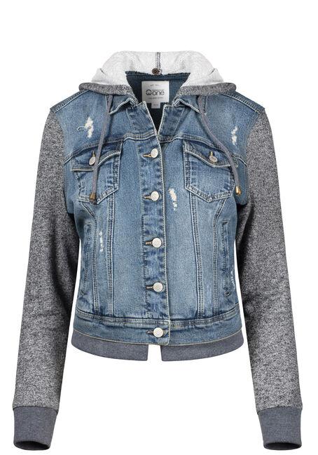 Women's Knit Sleeve Vintage Jean Jacket