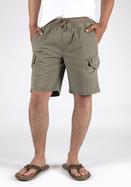 Men's Pull On Washed Twill Cargo Short