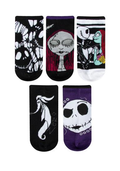 Women's 5 Pair Nightmare Socks, BLACK, hi-res
