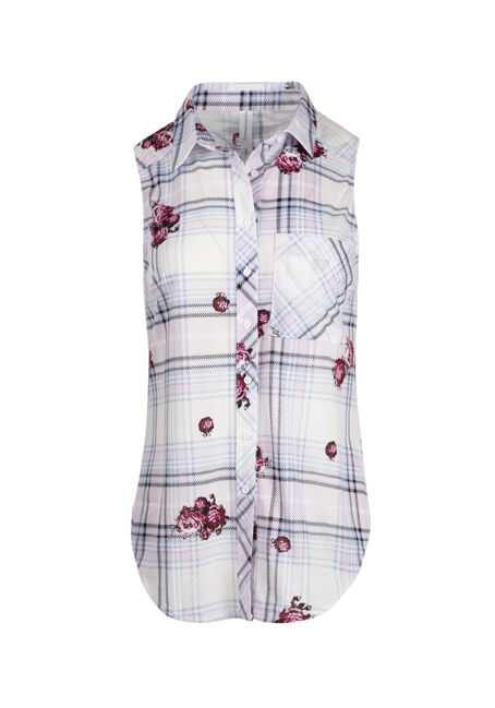 Ladies' Floral Plaid Knit Shirt