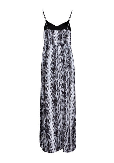 Women's Animal Print Maxi Dress, BLK/WHT, hi-res