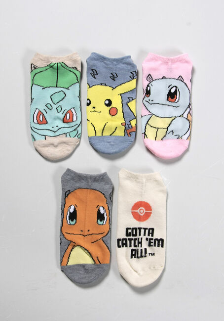 WOMEN'S 5 PAIR POKEMON SOCKS, PINK, hi-res