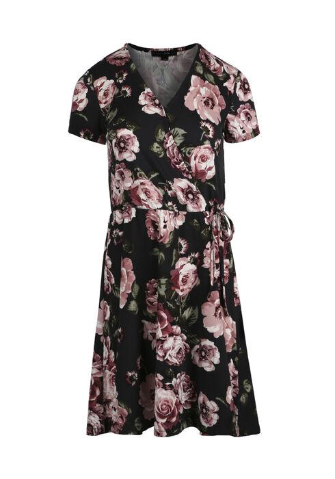 Women's Floral Wrap Dress, BLACK FLORAL, hi-res