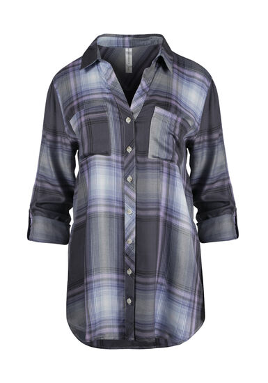 Women's Plaid Boyfriend Shirt, LAVENDER, hi-res