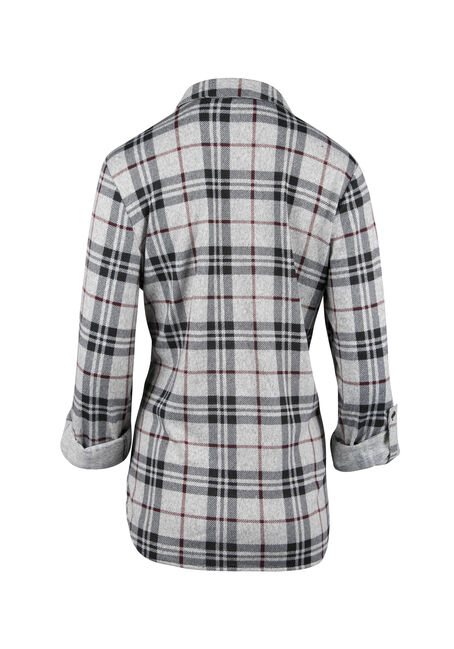 Ladies' Relaxed Fit Knit Plaid Shirt, HEATHER GREY, hi-res