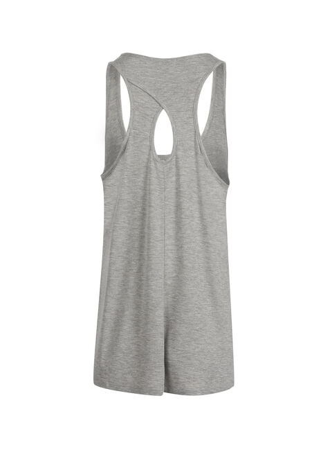 Ladies' Hamsa Feather Keyhole Tank, HEATHER GREY, hi-res