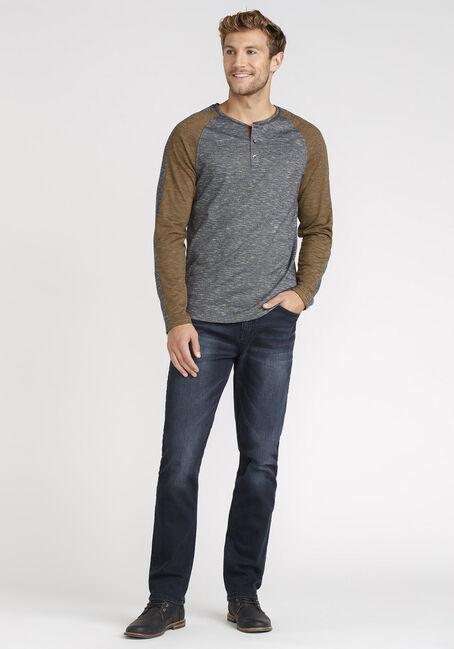 Men's Henley Sleeve Stripe Tee, HEATHER MIX, hi-res