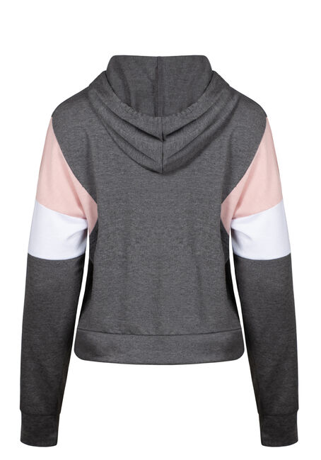Women's Colour Block Hoodie, HEATHER CHARCOAL, hi-res