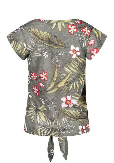 Women's Tropical Print Tie Front Tee, OLIVE, hi-res