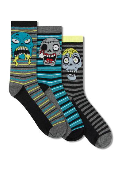 Men's 3 Pair Striped Zombie Socks, YELLOW, hi-res