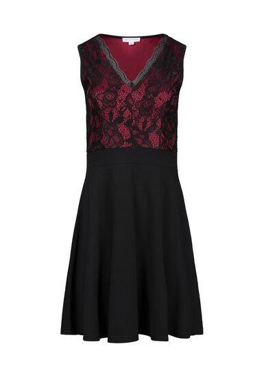 Women's Lace Fit & Flare Dress, BLACK, hi-res