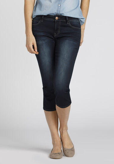 Women's Premium Skinny Capri, DARK WASH, hi-res