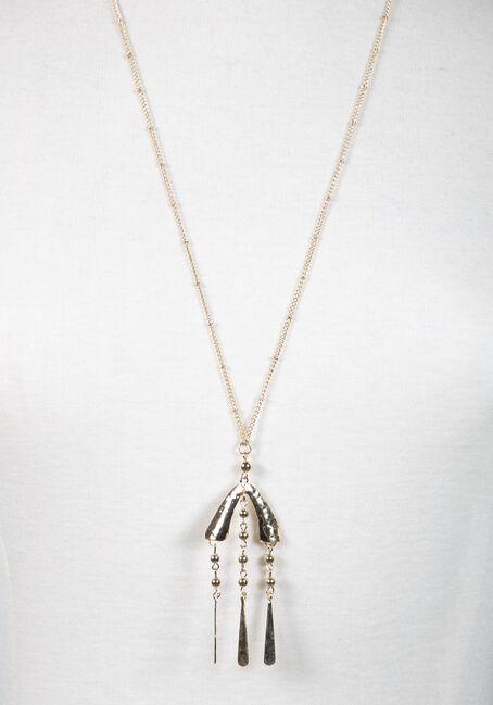 Long Pendant Teardrop Necklace, GOLD, hi-res