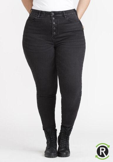 Women's Plus Size REPREVE® Black High Rise Exposed Button Skinny Jeans, BLACK, hi-res