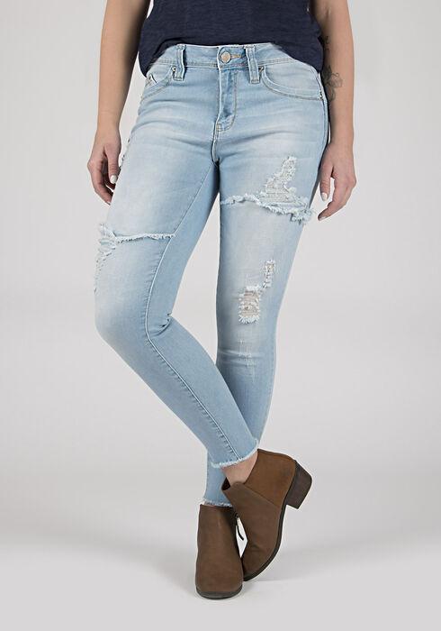 Ladies' Destroyed Skinny Ankle Jeans, LIGHT WASH, hi-res