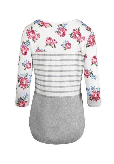 Women's Stripe Floral Colour Block Top, IVORY, hi-res