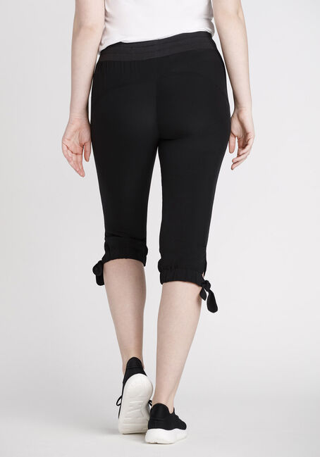 Women's Knotted Hem Capri, BLACK, hi-res