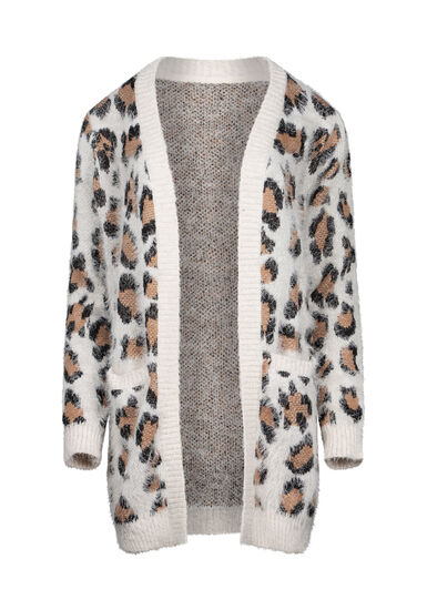 Women's Leopard Feather Yarn Cardigan, TAN, hi-res