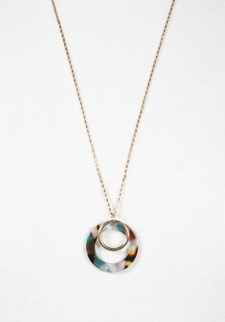 Women's Double Resin Necklace, GOLD, hi-res