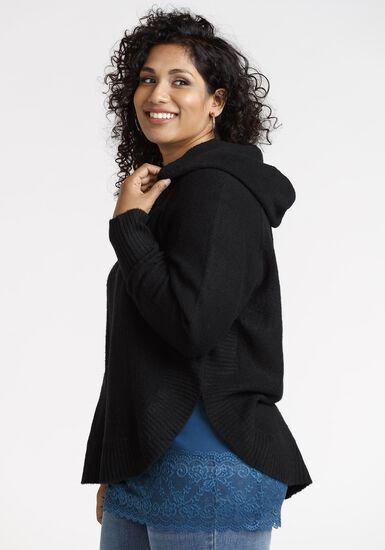 Women's Hooded Poncho, BLACK, hi-res