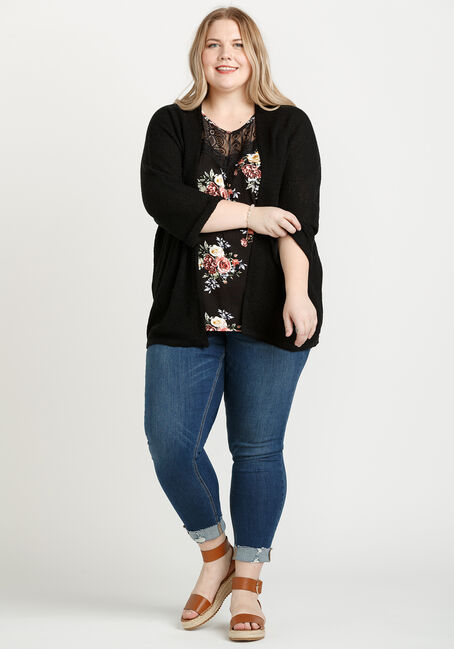Women's Dolman Sleeve Cardigan, BLACK, hi-res