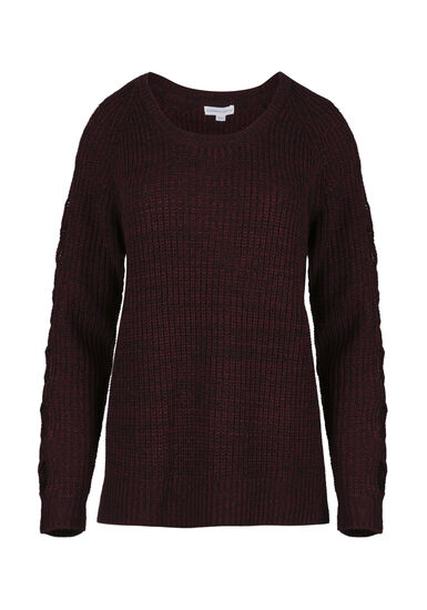 Women's Cut Out Sleeve Sweater, WINE/BLACK, hi-res