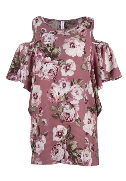 Ladies' Floral Cold Shoulder Top, MAUVE, hi-res
