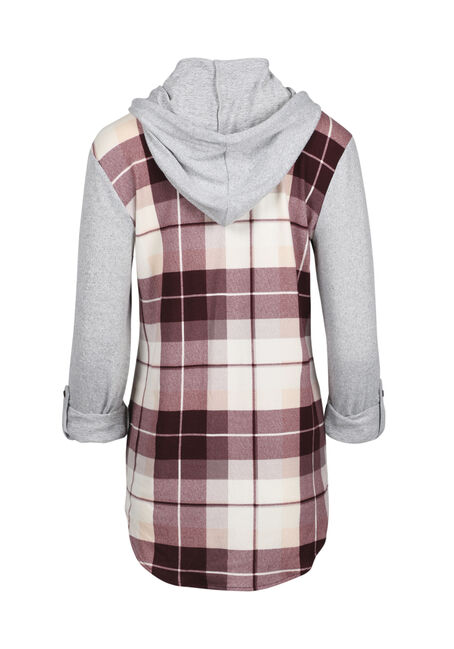 Ladies' Hooded Knit Boyfriend Shirt, WINE, hi-res