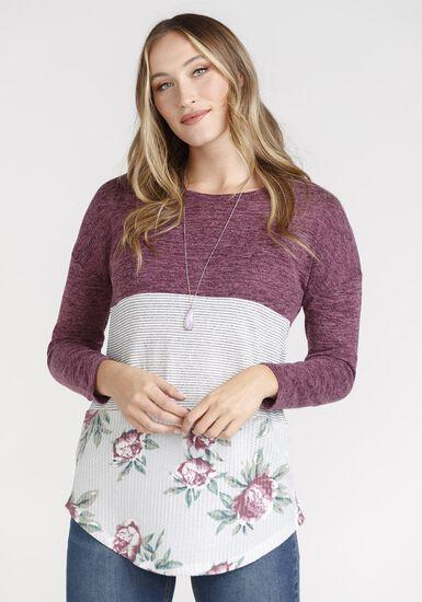 Women's Floral Colour Block Top, WINE, hi-res