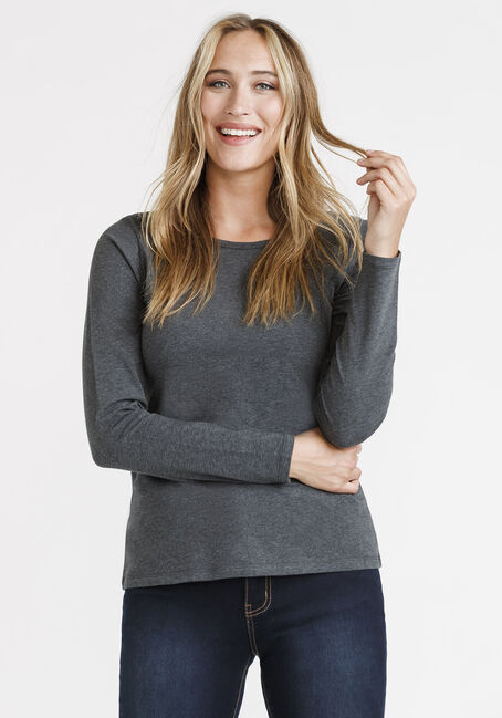 Women's Longsleeve Crew Neck, CHARCOAL, hi-res