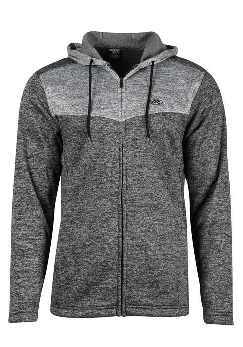 Men's Colour Block Hoodie, CHARCOAL MIX, hi-res