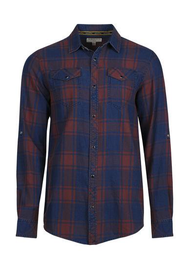 Men's Washed Plaid Shirt, DARK BURGUNDY, hi-res