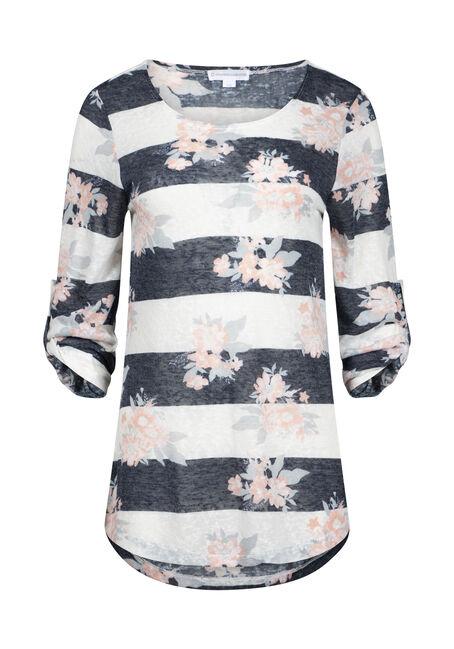 Women's Floral Stripe Tunic Top
