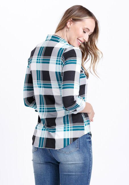 Women's Knit Plaid Shirt, TURQUOISE, hi-res