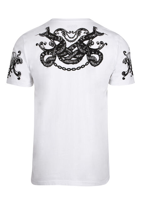 Men's Flocked Snake Tee, WHITE, hi-res