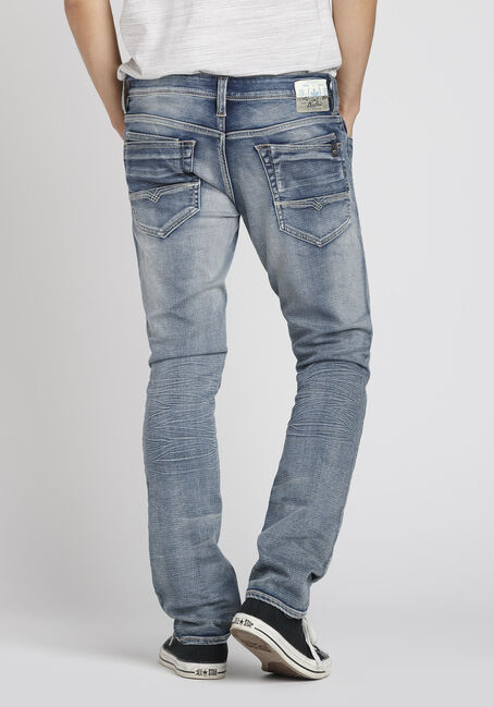 Men's Bleach Wash Straight Jeans, LIGHT WASH, hi-res
