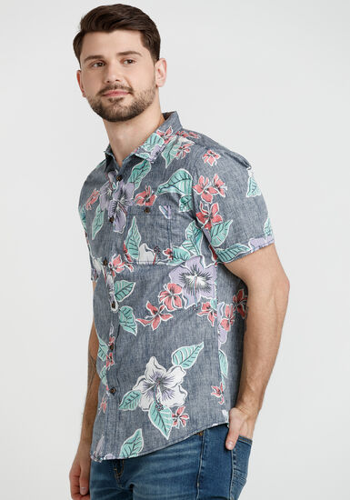Men's Floral Resort Shirt, NAVY, hi-res