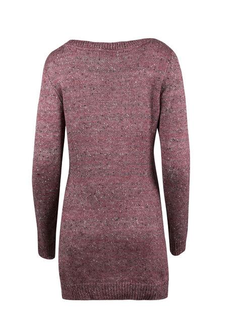 Ladies' Pointelle Tunic Sweater, DEEP PINK, hi-res