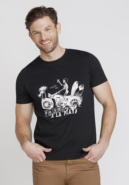 Men's Beach Skeleton Tee, BLACK, hi-res