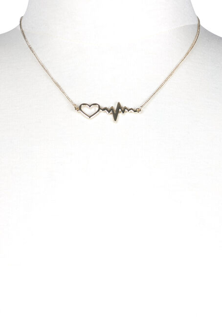 Women's Heart Beat Necklace, GOLD, hi-res